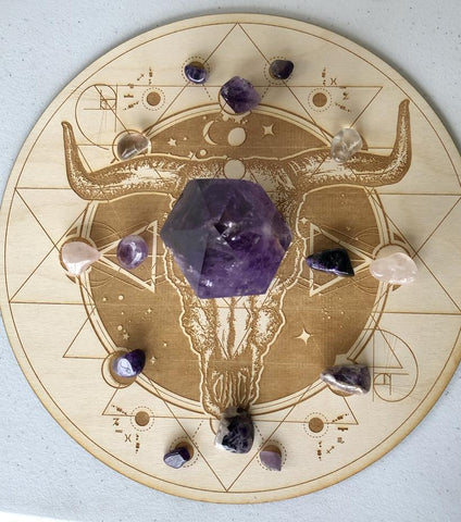 Bull Skull Crystal Grid Alter Table