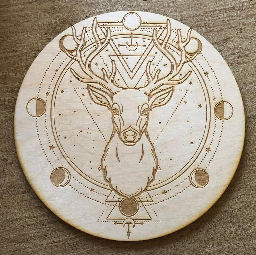 Grid Deer Moon Phase Crystal Grid Alter Table