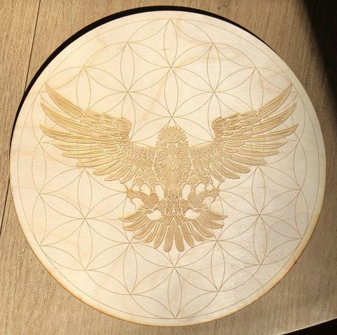 Flower of Life Hawk Crystal Grid Alter Table