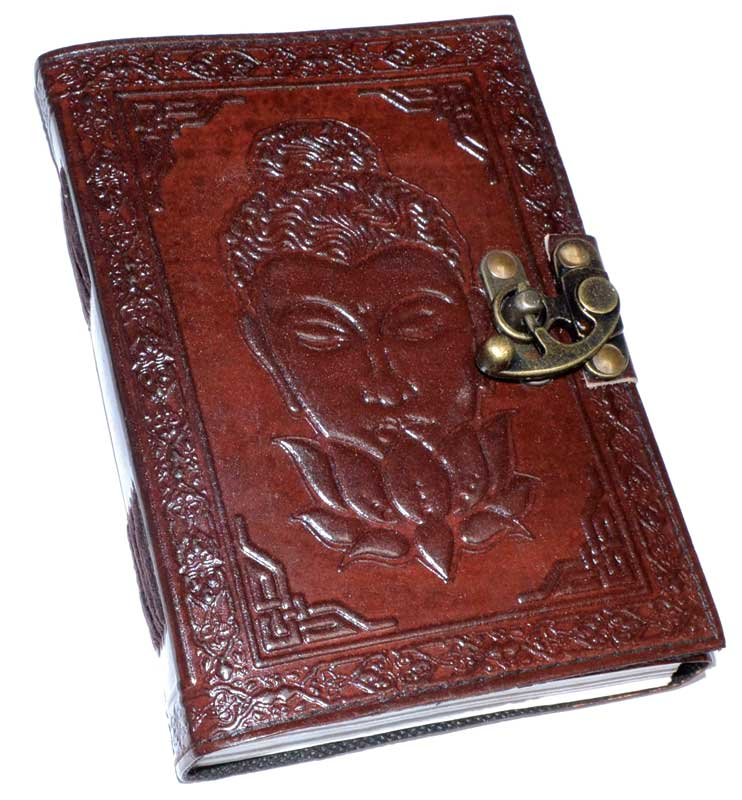 Journals Buddha Lotus Leather Journal with Latch