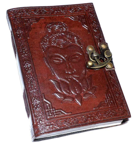 Buddha Lotus Leather Journal with Latch