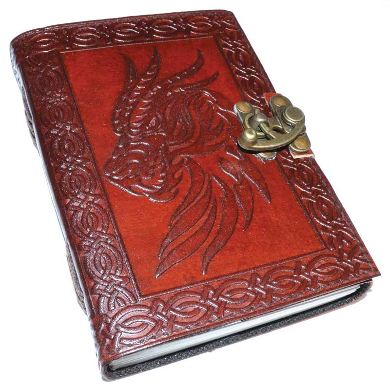 Journals Celtic Dragon Leather Journal with Latch