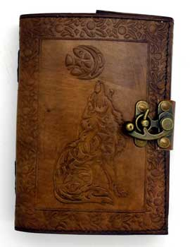 Journals Celtic Wolf & Moon Leather Journal with Latch
