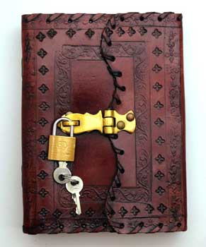 Embossed leather blank book w/key
