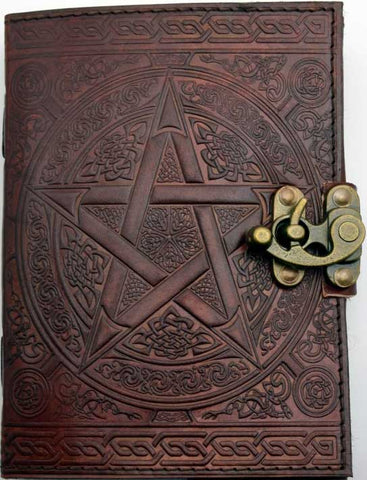 Leather Journal Brown Pentagram with Latch