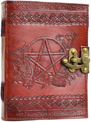 Pentagram leather blank book w/latch