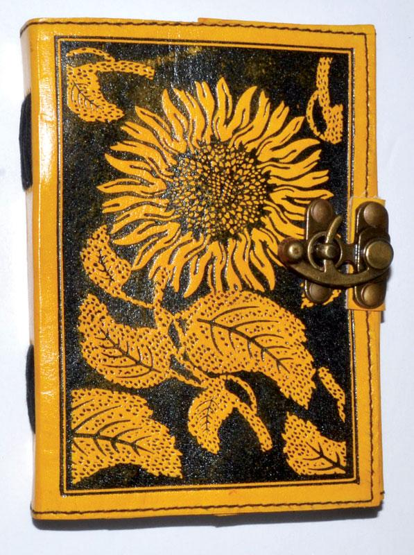Sunflower leather blank book w/latch