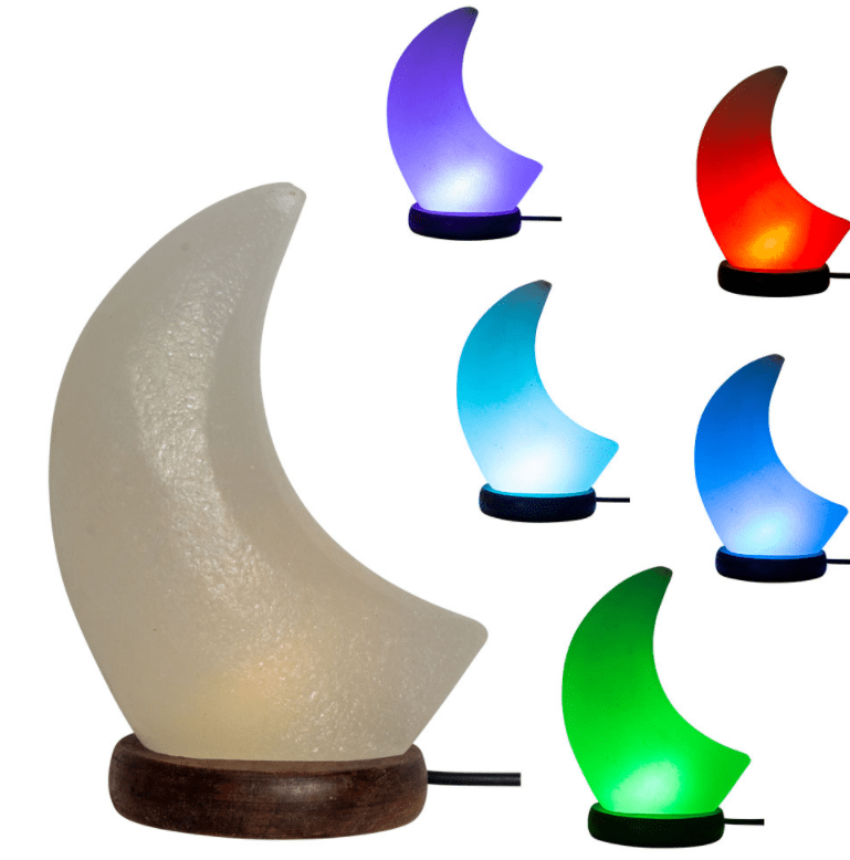 Lamps USB Salt Lamp w/ Multicolored LED - White Moon