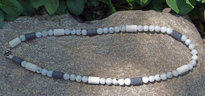Necklaces Healing Necklace - Goddess Intuition - Moonstone with Basalt