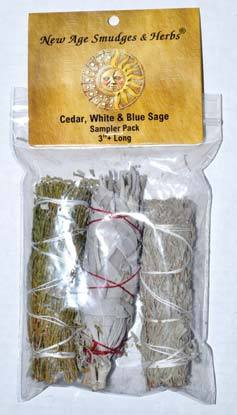 Smudge Sticks Cedar, White & Blue Sage Smudge Stick 3-Pack | 4""
