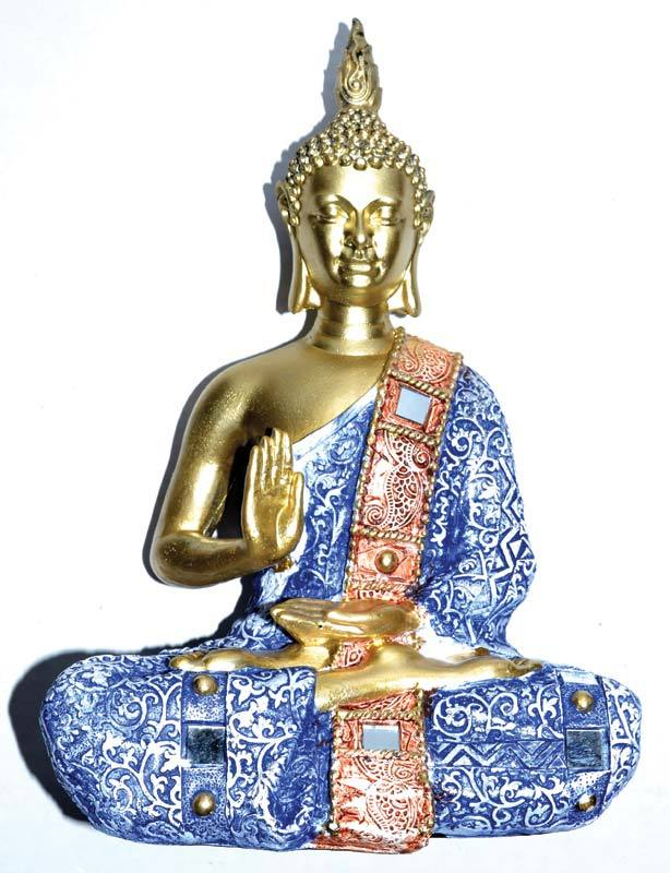 Buddha Statue with Blue Clothing & Mirror