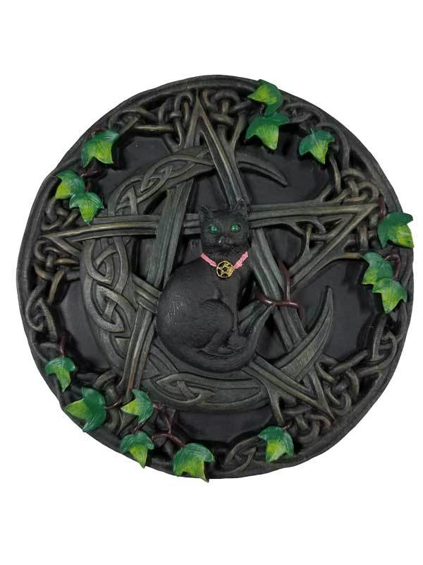 Wall Hangings Cat and Pentagram Wall Plaque 7 1/2""