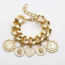 Load image into Gallery viewer, Golden Lucky Charm Bracelet Size Large