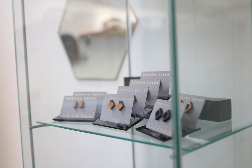Rowena Sheen Earrings Display