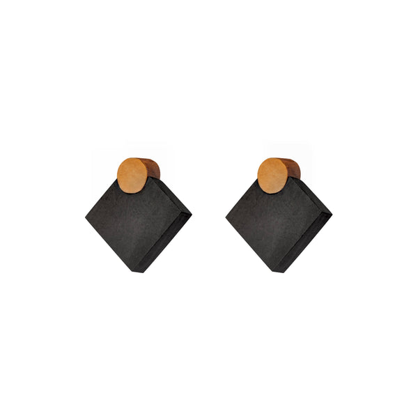 Diamonds - Diamond shaped wooden stud earrings in black, Handmade in Ireland by Irish Jewellery Designer Rowena Sheen