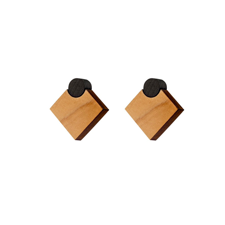 Diamonds - Diamond shaped wooden stud earrings, Handmade in Ireland by Irish Jewellery Designer Rowena Sheen