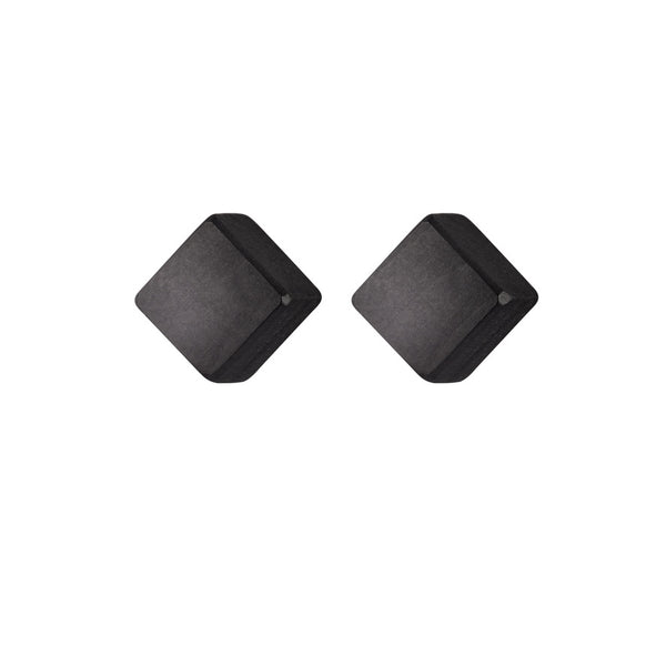Gola - Small wooden cube stud earrings in black - Handmade by Irish jewellery designer Rowena Sheen