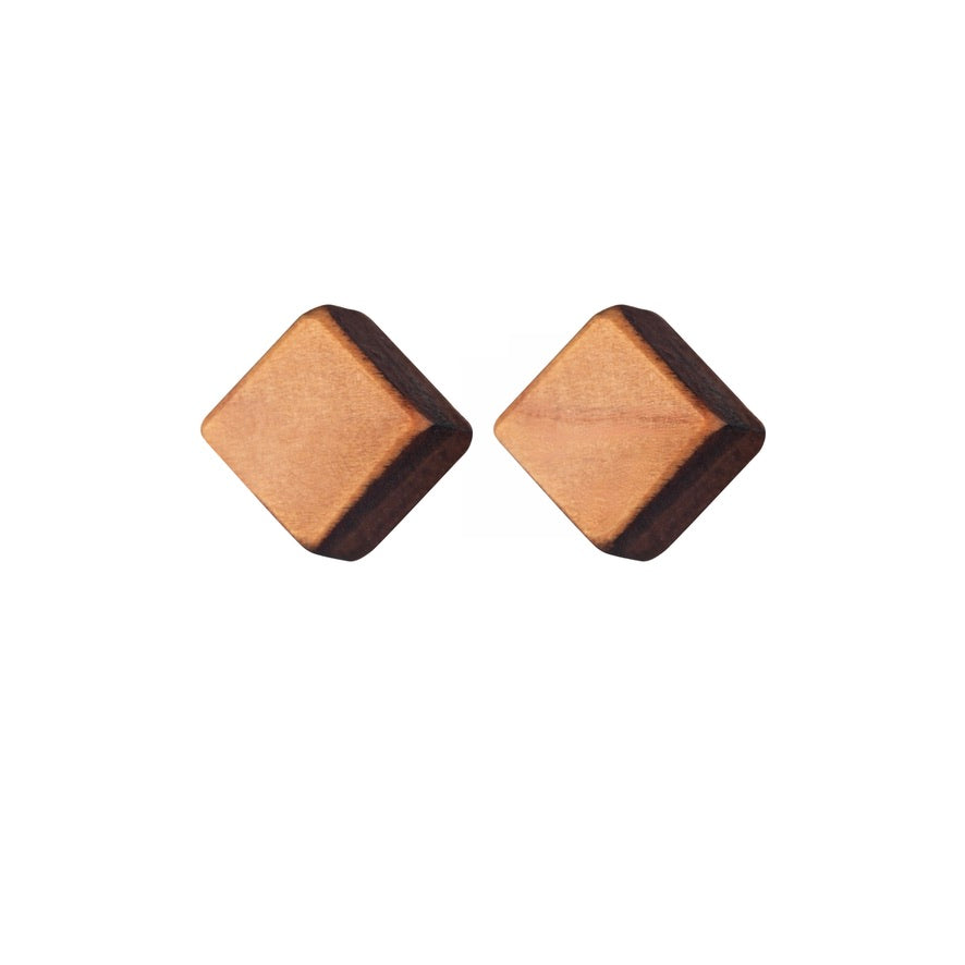Gola - Small wooden cube stud earrings - Handmade by Irish jewellery designer Rowena Sheen