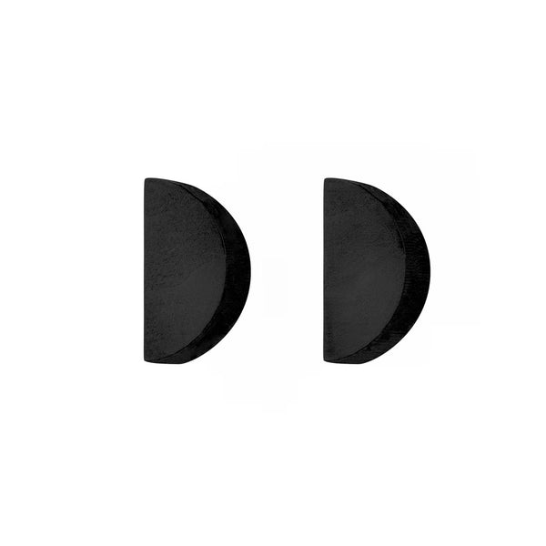 Half-Moon - Semi-circle wooden stud earrings in black - handmade in Ireland by Irish jewellery designer Rowena Sheen