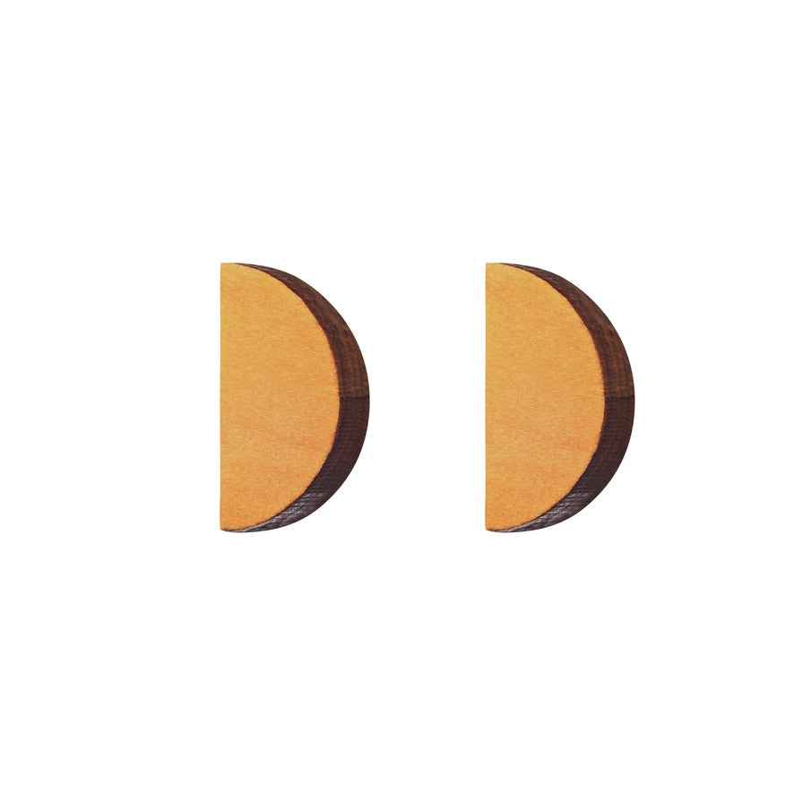 Half-Moon - Semi-circle wooden stud earrings handmade in Ireland by Irish jewellery designer Rowena Sheen