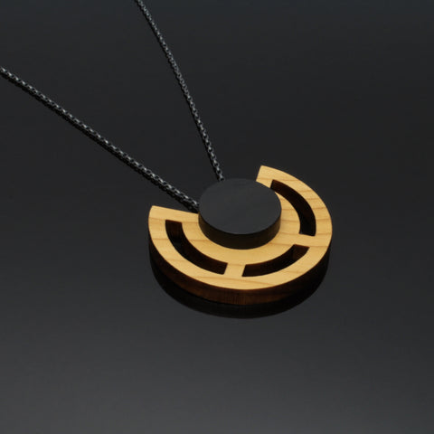 Clara - Geometric statement pendant in wood and sterling silver - made in Ireland