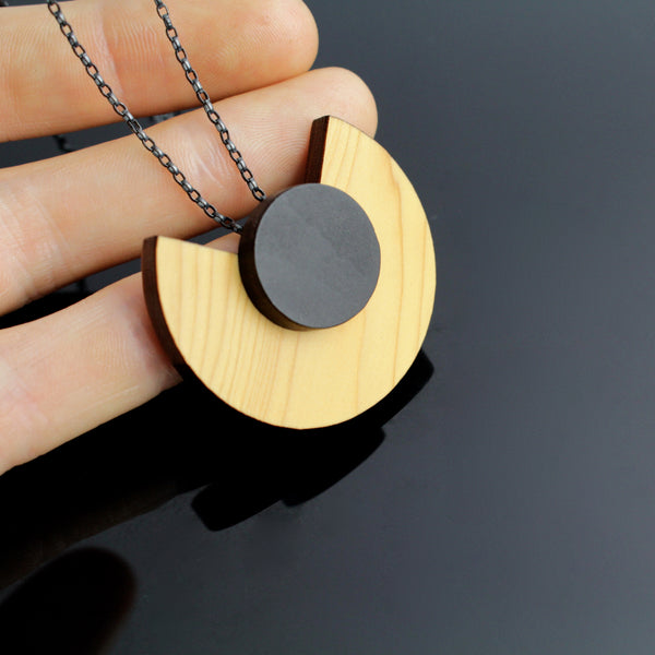 Cara Statement Pendant - Contemporary jewellery handmade in Ireland in wood and sterling silver