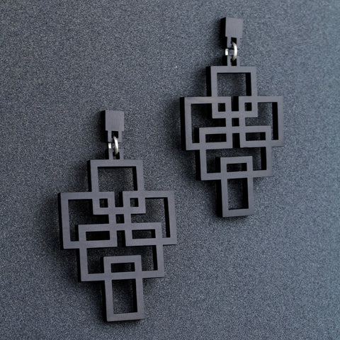 Tetris - Geometric wooden pendant earrings in black - Handmade in Ireland by Rowena Sheen