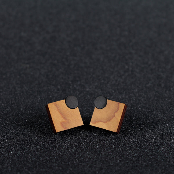 Diamonds - Diamond shaped studs, Handmade in Ireland in wood and sterling silver