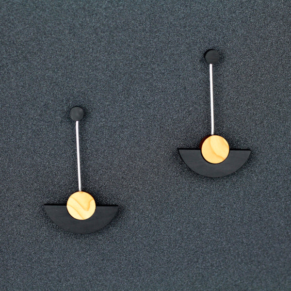 Kandinsky - Handmade in Ireland - Geometric drop earrings in wood and silver