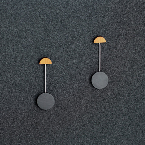 Miro - Lightweight geometric wooden drop earrings in black - handmade in Ireland by Irish jewellery designer Rowena Sheen