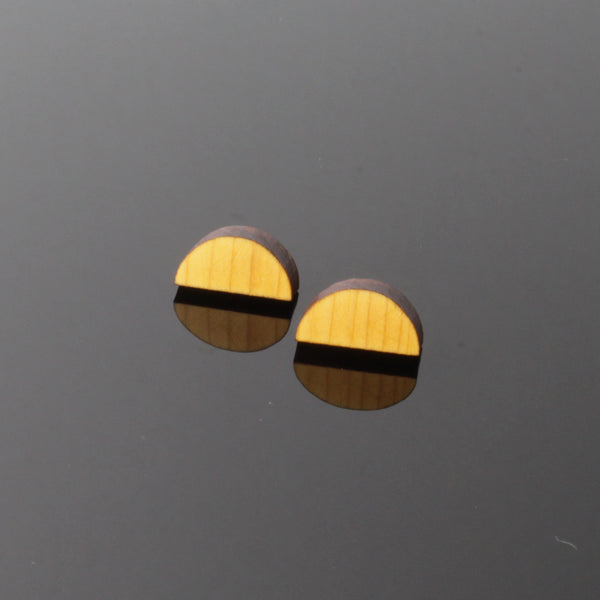 Half-Moon - Made in Ireland - Studs in wood and silver