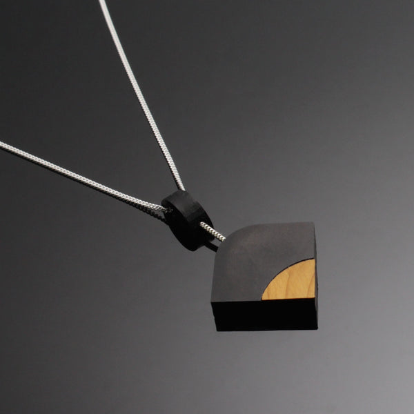 Ray - Geometric wooden pendant in black - Handmade in Ireland by Irish jewellery designer Rowena Sheen