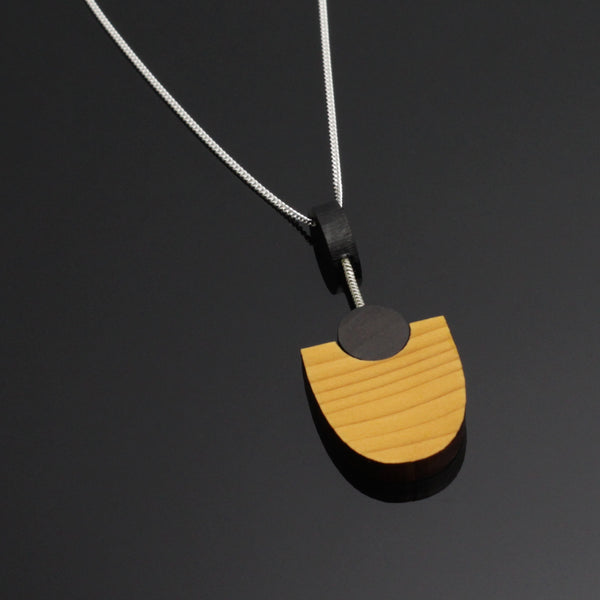 Kandinsky - Handmade in Ireland - Geometric pendant in wood and silver