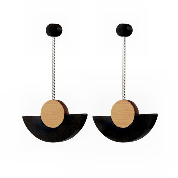 Kandinsky - Geometric wooden drop earrings in black - handmade in Ireland by Irish jewellery designer Rowena Sheen