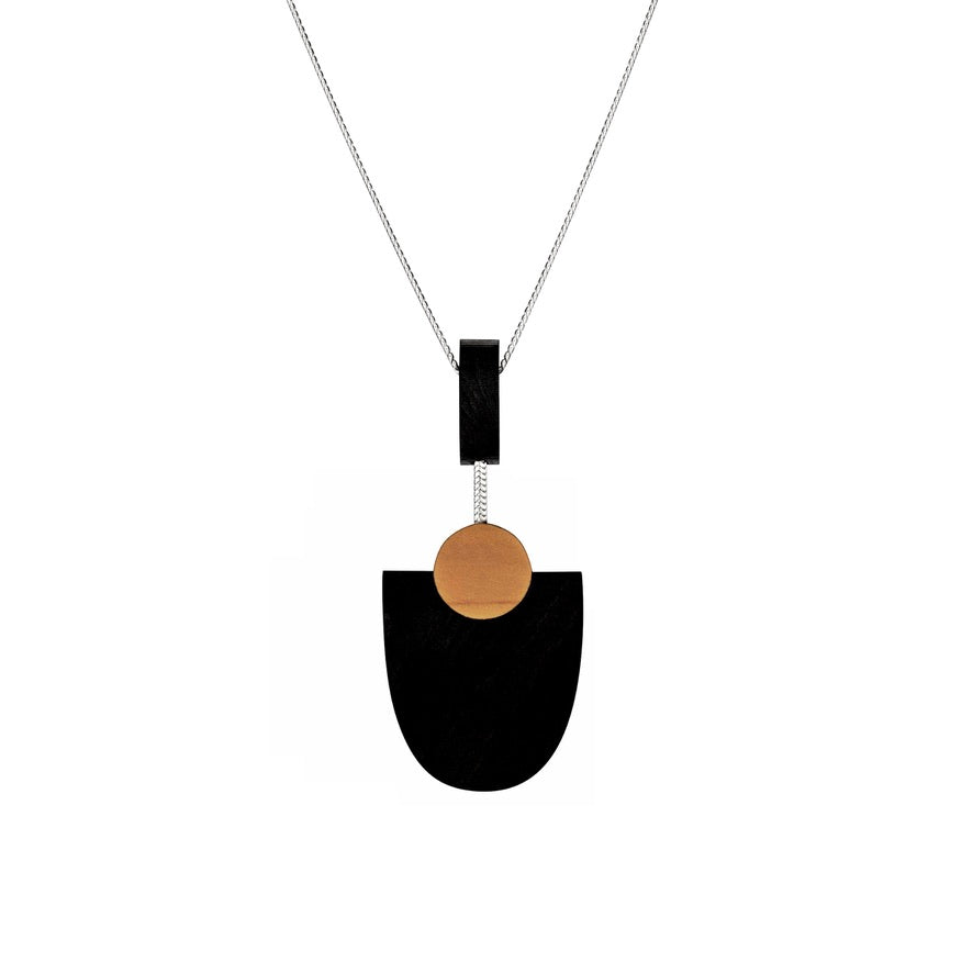 Kandinsky - Geometric wooden pendant in black - handmade in Ireland by Irish jewellery designer Rowena Sheen
