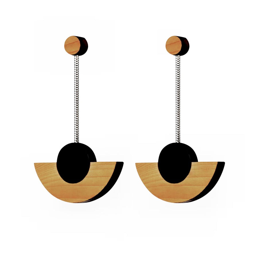 Kandinsky - Geometric wooden drop earrings - handmade in Ireland by Irish jewellery designer Rowena Sheen