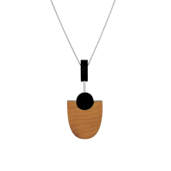 Kandinsky - Geometric wooden pendant - handmade in Ireland by Irish jewellery designer Rowena Sheen
