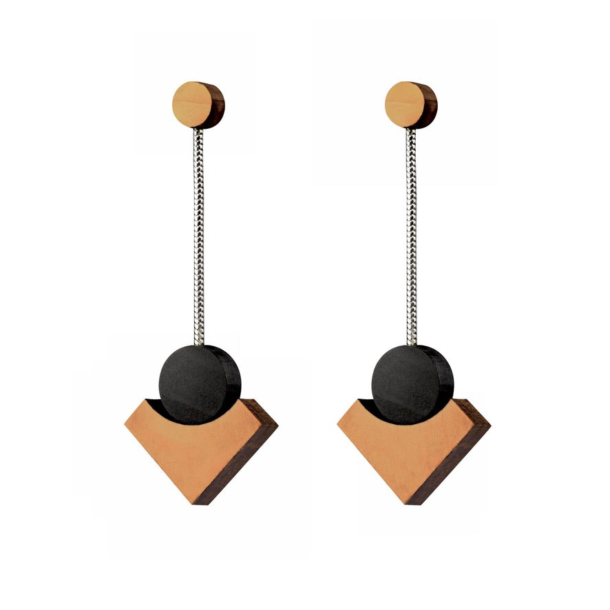 Klimt - Lightweight geometric wooden earrings - handmade in Ireland by Irish jewellery designer Rowena Sheen