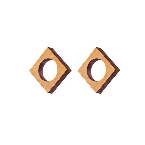 Lind - Geometric wooden stud earrings - handmade in Ireland by Irish jewellery designer Rowena Sheen