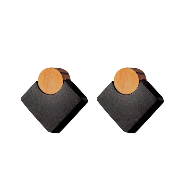Mini-Diamond - Handmade in Ireland - Diamond shaped studs in wood and silver
