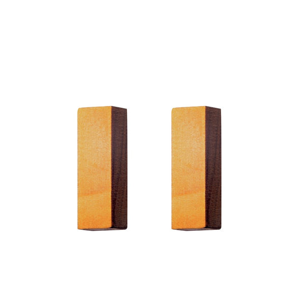 Mini-Rectangles - Small rectangle shaped wooden stud earrings  - handmade in Ireland by Irish jewellery designer Rowena Sheen