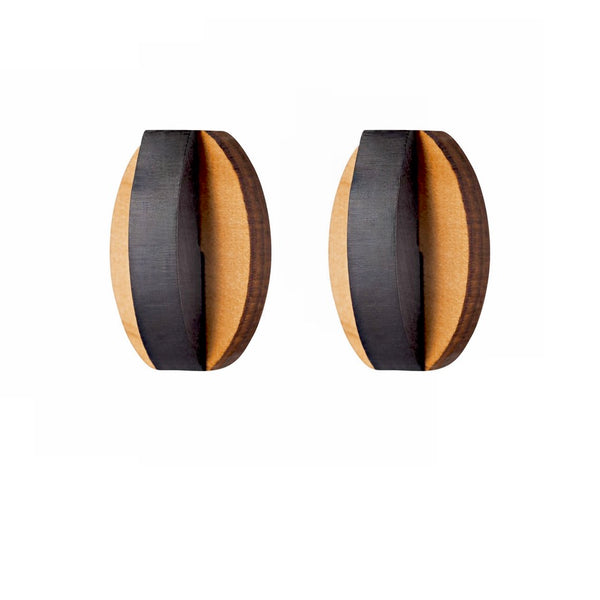 Omey - Geometric wooden stud earrings - Handmade in Ireland by Irish jewellery designer Rowena Sheen