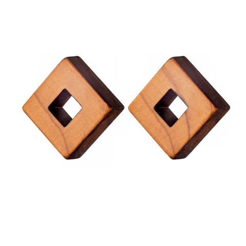 Owey - Small square wooden studs - handmade in Ireland by Irish jewellery designer Rowena Sheen