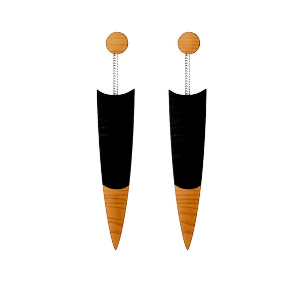 Quill - Contemporary wooden drop earrings  in black by Irish jewellery designer Rowena Sheen