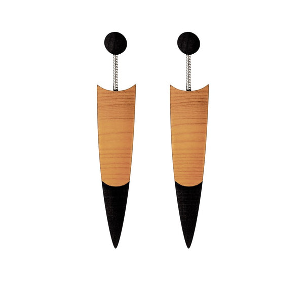 Quill - Contemporary wooden drop earrings by Irish jewellery designer Rowena Sheen