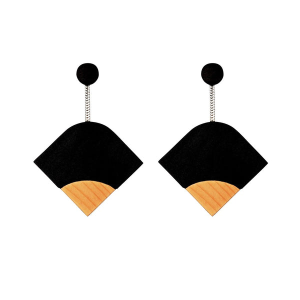 Ray - Geometric Wooden Earrings in Black - Handmade in Ireland by Irish Jewellery Designer Rowena Sheen