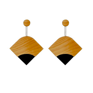 Ray - Geometric Wooden Earrings - Handmade in Ireland by Irish Jewellery Designer Rowena Sheen