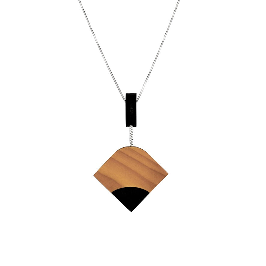 Ray - Geometric wooden pendant - Handmade in Ireland by Irish jewellery designer Rowena Sheen