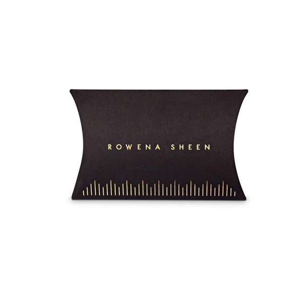 Rowena Sheen Luxury Black Pillow Box Packaging With Gold Foil Logo