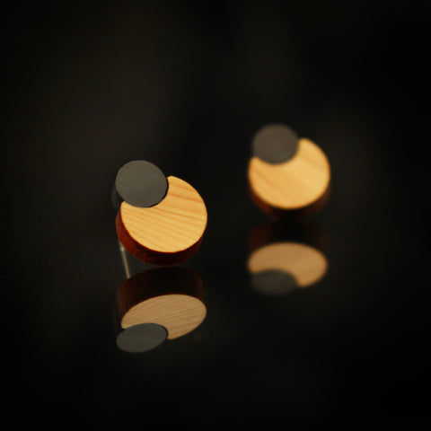Mini-Pearls - Small Pearl shaped wooden earrings - handmade in Ireland by Irish jewellery designer Rowena Sheen